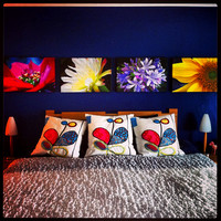 Bedroomwall with 4 Gallery Wrap prints on canvas
